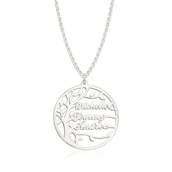 Sterling Silver Personalized Family Tree Necklace, , default
