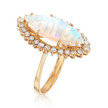 C. 1970 Vintage Opal and .60 ct. t.w. Diamond Ring in 18kt Yellow Gold. Size 7