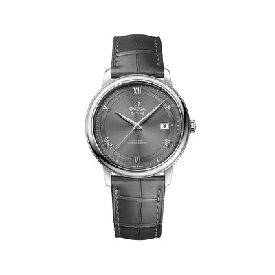 Omega De Ville Prestige Men's 39.5mm Stainless Steel Watch with Gray Leather Strap and Dial, , default