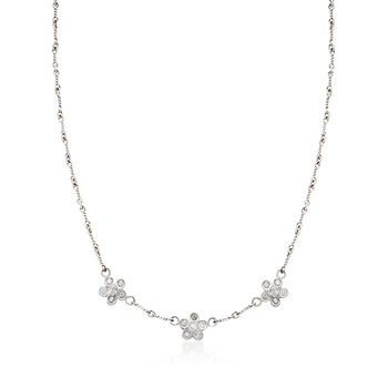 "C. 1990 Vintage .75 ct. t.w. Diamond Floral Station Necklace in 14kt White Gold. 16.5"", , default"