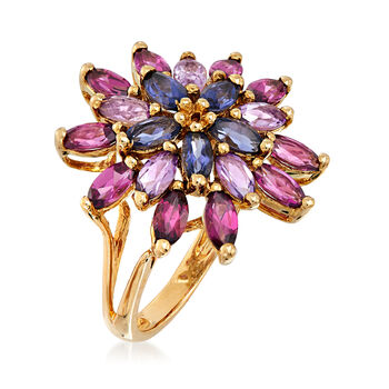C. 1980 Vintage 2.60 ct. t.w. Multi-Gemstone Flower Ring in 14kt Yellow Gold. Size 5