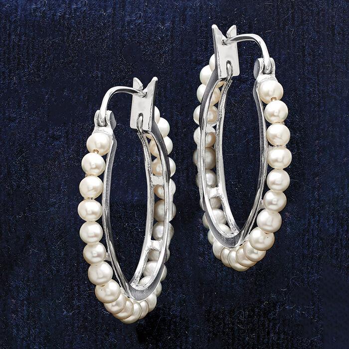 3-3.5mm Cultured Pearl Hoop Earrings in Sterling Silver