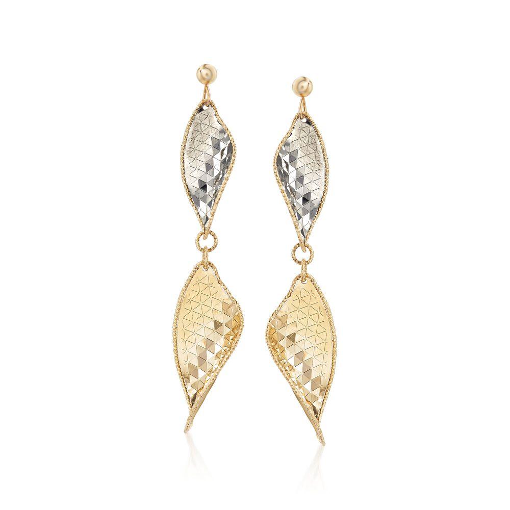 Italian 14kt Yellow Gold Leaf Drop Earrings With Gunmetal Default