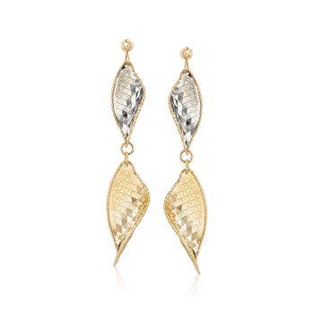 Italian 14kt Yellow Gold Leaf Drop Earrings With Gunmetal, , default