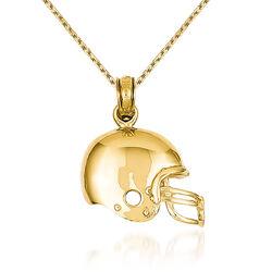 "14kt Yellow Gold Football Helmet Pendant Necklace. 18"", , default"