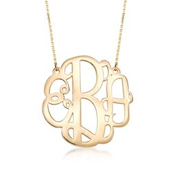 14kt Yellow Gold Large Monogram Necklace, , default