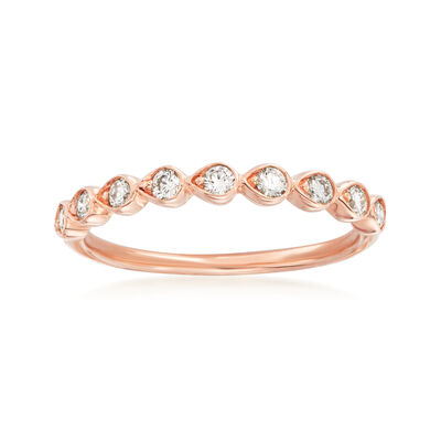 Henri Daussi .26 ct. t.w. Diamond Wedding Ring in 14kt Rose Gold, , default