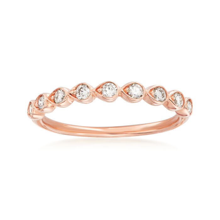 Henri Daussi .26 ct. t.w. Diamond Wedding Ring in 14kt Rose Gold, , default