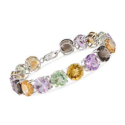 54.25 ct. t.w. Multi-Stone Tennis Bracelet in Sterling Silver, , default