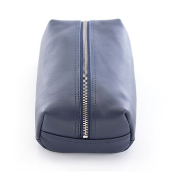 Royce Blue Leather Compact Toiletry Bag