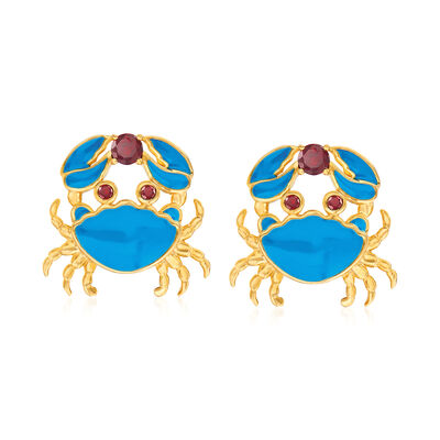 .70 ct. t.w. Garnet and Blue Enamel Crab Earrings