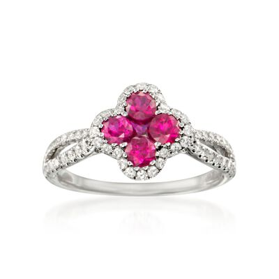 Gregg Ruth .80 ct. t.w. Ruby and .35 ct. t.w. Diamond Ring in 18kt White Gold
