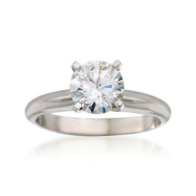 14kt White Gold Four-Prong Knife-Edge Engagement Ring Setting