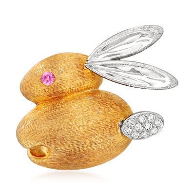 C. 1980 Vintage Diamond and Pink Sapphire-Accented Rabbit Pin in 18kt Two-Tone Gold, , default