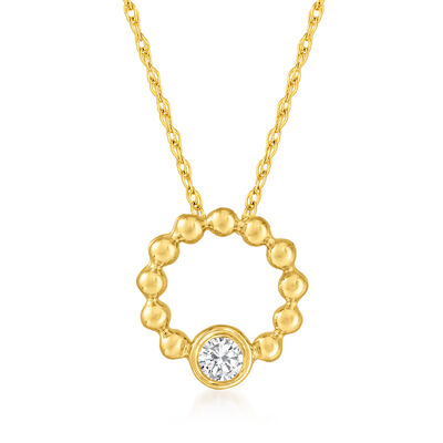 .10 Carat Diamond Beaded Open-Circle Pendant Necklace in 14kt Yellow Gold