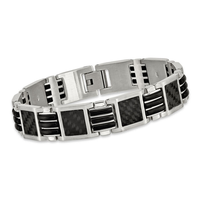 "Men's Stainless Steel Bracelet with Black Carbon Fiber and Rubber Inlay  9"", , default"