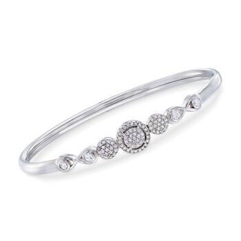 """.60 ct. t.w. Pave CZ Flex Bangle With Sterling Silver. 8"""", , default"""