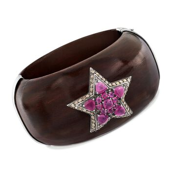 """7.00 ct. t.w. Pink Sapphire and Ebony Wood Star Bangle Bracelet With Champagne Diamonds in Sterling. 7.5"""", , default"""