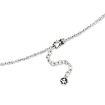 "Andrea Candela ""Fleur De Lis"" 5.91 Carat Swiss Blue Topaz Pendant Necklace in Sterling Silver. 17"", , default"