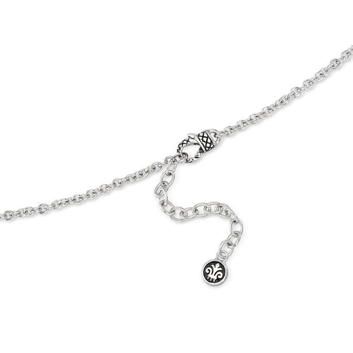 "Andrea Candela ""Fleur De Lis"" 5.91 Carat Swiss Blue Topaz Pendant Necklace in Sterling Silver"