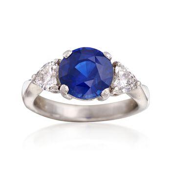 C. 1990 Vintage 2.50 Carat Sapphire and .51 ct. t.w. Diamond Ring in Platinum. Size 3.5, , default