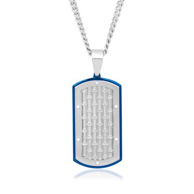 Men's White and Blue Stainless Steel Brick-Patterned Dog Tag Pendant Necklace, , default