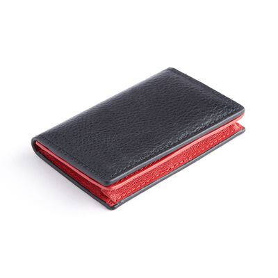 Royce Black and Red Leather Snap Closure Business Card Holder