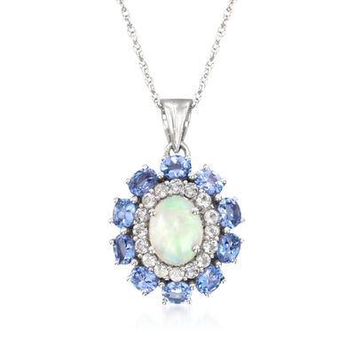 Opal and 1.50 ct. t.w. Tanzanite Pendant Necklace with White Topaz in 14kt White Gold Over Sterling