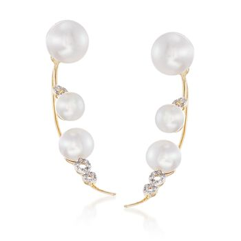 5-8mm Cultured Pearl Jewelry Set: Earrings and Front-Back Jackets With Diamonds in 14kt Yellow Gold, , default