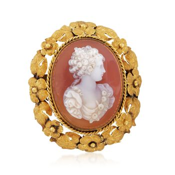 C. 1930 Vintage Agate Cameo Floral Pin in 18kt Yellow Gold, , default
