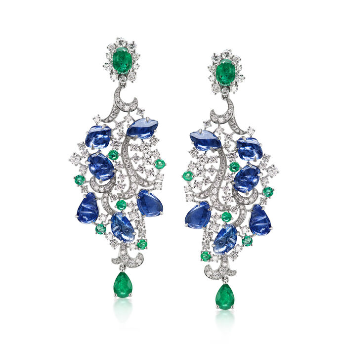 15.50 ct. t.w. Sapphire, 4.18 ct. t.w. Diamond and 3.50 ct. t.w. Emerald Drop Earrings in 18kt White Gold
