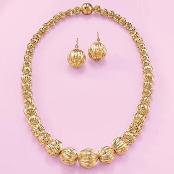 Italian Andiamo 14kt Yellow Gold Fluted Drop Earrings , , default