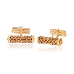 C. 1960 Vintage 14kt Yellow Gold Mesh Cuff Links, , default