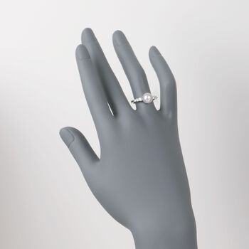 Mikimoto 8-8.5mm Akoya Pearl Ring With Diamonds in 18kt White Gold. Size 7, , default