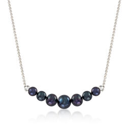 4-7.5mm Graduated Black Cultured Pearl Necklace in Sterling Silver, , default