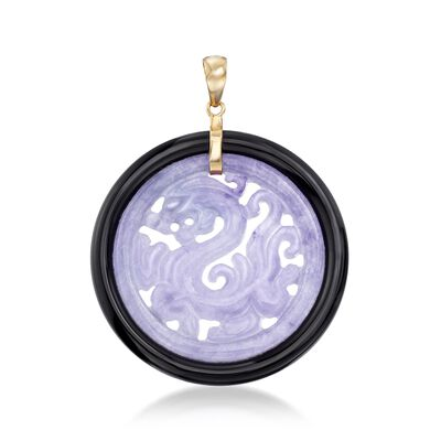 Lavender Jade and Black Agate Dragon Circle Pendant with 14kt Yellow Gold