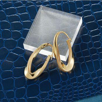 """Italian 18kt Yellow Gold Twisted Oval Hoop Earrings. 1 5/8"""", , default"""