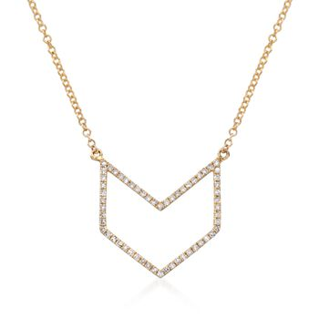 """.18 ct. t.w. Diamond Open Chevron Necklace in 14kt Yellow Gold. 16"""", , default"""