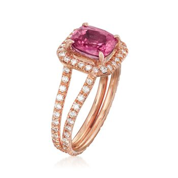 C. 1990 Vintage 2.59 Carat Pink Sapphire and 1.20 ct. t.w. Diamond Ring in 18kt Rose Gold. Size 7, , default