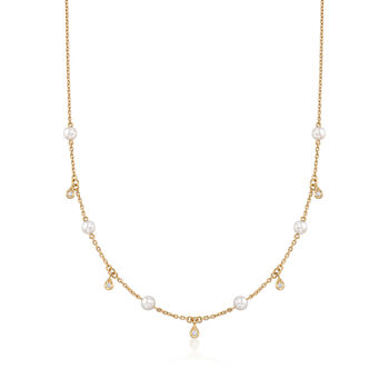 "Mikimoto 4.5mm A+ Akoya Pearl Station Necklace With .11 ct. t.w. Diamonds in 18kt Yellow Gold. 16.75"", , default"