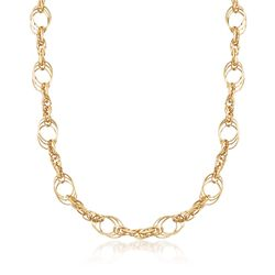 Italian 14kt Yellow Gold Multi-Circle Link Necklace, , default