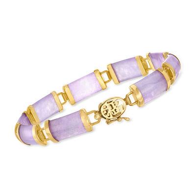 Lavender Jade Chinese Symbol Bracelet in 18kt Gold Over Sterling