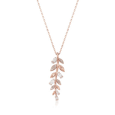 "Swarovski Crystal ""Mayfly"" Fern Necklace in Rose Gold-Plated Metal, , default"