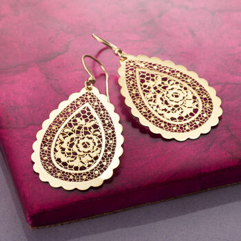 Italian 18kt Yellow Gold Floral Openwork Teardrop Earrings , , default