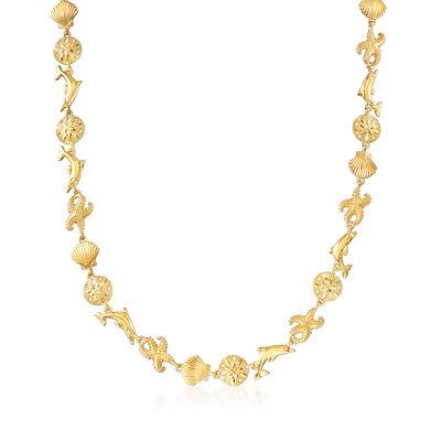 18kt Gold Over Sterling Silver Sea Life Link Necklace, , default
