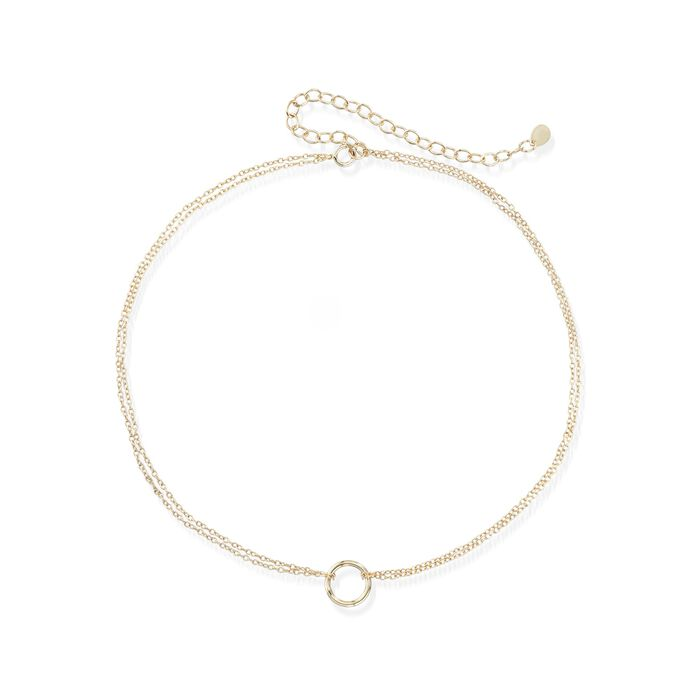 """18kt Gold Over Sterling Silver Open Circle Choker Necklace. 12"""", , default"""