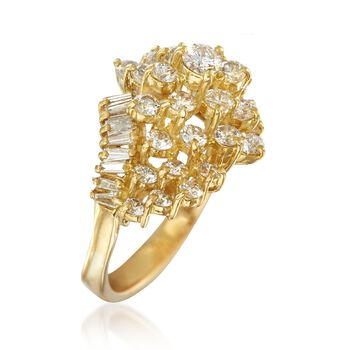C. 1980 Vintage 2.10 ct. t.w. Diamond Cluster Ring in 18kt Yellow Gold. Size 7.5, , default