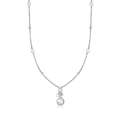 Mikimoto 5-8mm Akoya Pearl and .27 ct. t.w. Diamond Station Necklace in 18kt White Gold, , default