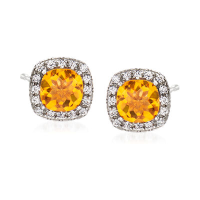 .10 ct. t.w. Citrine and .10 ct. t.w. White Topaz Stud Earrings Sterling Silver