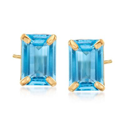 2.10 ct. t.w. Swiss Blue Topaz Stud Earrings in 14kt Yellow Gold